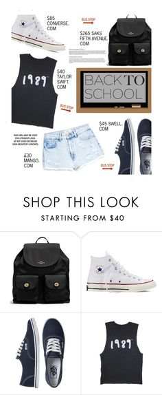 """Back to School: New Shoes"" by edenslove ❤ liked on Polyvore featuring Coach, Converse, Vans and MANGO"
