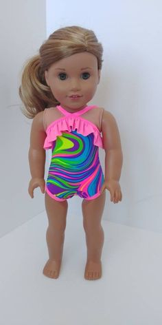 33030bd34aeab Doll swimsuit for 18 inch doll. Fits like American girl doll clothing. 18  inch doll bathing suit. 1 piece swim suit