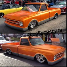 orange silver slammed 1967 chevy C10 5 star wheels sema 2013 brushed face 67