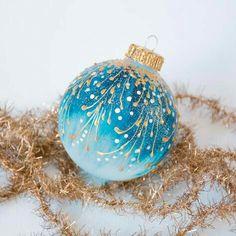Gold Christmas Decorations, Beaded Christmas Ornaments, Christmas Art, Christmas Ideas, Snowflake Decorations, Etsy Christmas, Ball Ornaments, Hand Painted Ornaments, Homemade Christmas