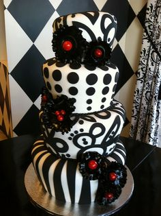 Black and white topsy turvy wedding cake just add purple instead of red yeah baby Unique Cakes, Elegant Cakes, Creative Cakes, Fancy Cakes, Cute Cakes, Pretty Cakes, Black White Cakes, Black And White Wedding Cake, Gorgeous Cakes