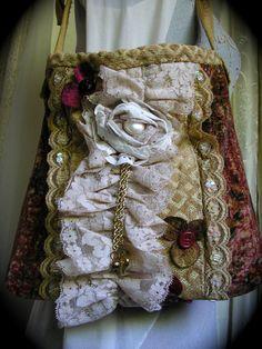 Velvet Gypsy Bag ruffled lace vintage velvet ♥ by GrandmaDede