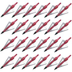 """Jreameast Red 100 Grain Hunting Fixed 3-blade Broadheads Archery Arrow Heads Tips(Pack of 24). Color:Red. Material:Aluminum & 430 Stainless Steel. Length:7.1 cm(2.8""""). Weight:100 grain."""