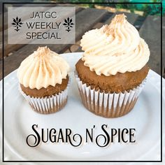 Check out our Weekly Special Sugar n' Spice. They're #glutenfree and #vegan cinnamon and cardamom #cupcakes topped with brown sugar buttercream frosting and a sprinkle of brown sugar. A tasty cupcake for those looking for those autumn flavors. Available at the shop from now until this Sunday! 🍂🍁🍂 #yummy #jatgc #jamesandthegiantcupcake #Oakland #oaklandeats #bayarea #bayareaeats #cupcakestagram