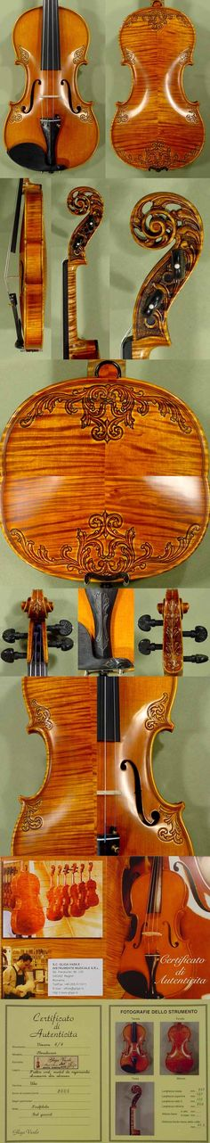 4/4 MAESTRO VASILE GLIGA Sun Flower Scroll with Leaves on Top and Back Scroll Violin Outfit