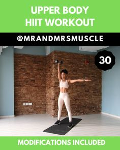 HIIT with Beginner Modifications Upper Body Workout &; HIIT with Beginner Modifications MrandMrsMuscle mrandmrsmuscle Upper Body BURN FAT and SHAPE your Upper Body with […] videos Upper Body Hiit Workouts, Full Body Hiit Workout, Gym Workout Videos, Dumbbell Workout, Gym Workouts, Cardio Hiit, Plyometric Workout, Exercise Fitness, Fitness Video
