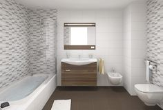 Modern Bathroom With Brown Vanity and Brown Tile