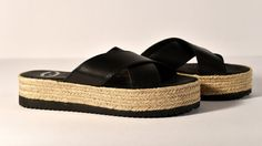 Handmade black Greek leather sandal with espadrilles by Frabala