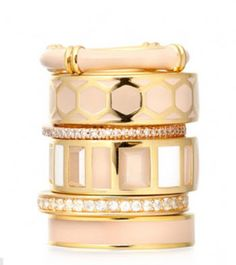 Stack Attack! Astley Clarke Peach Blush Honeycomb ring stacker