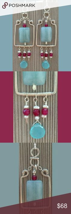 Genuine Gemstone Sterling Silver Earrings Very beautiful sterling silver, blue chalcedony and pink chalcedony earrings with tin freshwater pearls. These are statement pieces, great for bridal jewelry, fit for a true queen. Hand crafted in New York, high attention to detail and quality.  These are large, long swinging pieces with great movement for dance. Dancing Luna Jewelry Earrings