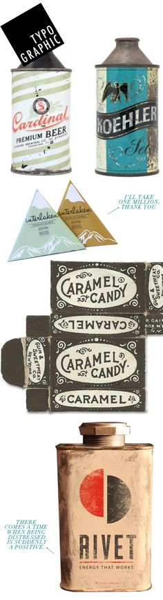 vintage and vintage inspired typographic packaging