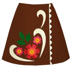 honeycake skirt brown graphic appliques by madewithlovebyhannah