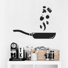 Home Decoration Ideas and Design Architecture. DIY and Crafts for your home renovation projects. Simple Wall Paintings, Creative Wall Painting, Creative Wall Decor, Wall Painting Decor, Diy Wall Art, Kitchen Wall Decals, Wall Stickers Home Decor, Kitchen Paint, Wall Drawing