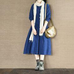 Blue Dress Open Dress Oversize Cotton Linen Coat Maxi Dress Causel Linen Coat Women Clothes