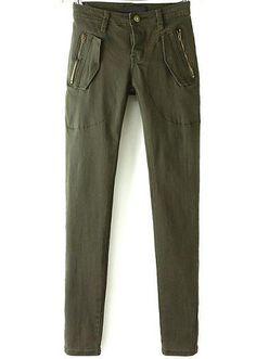 Pantalones cremallera bolsillos-verde 17.71