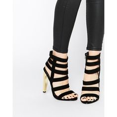 Missguided Strappy Sandals With Gold Heel ($68) ❤ liked on Polyvore featuring shoes, sandals, black, black sandals, gold strap sandals, black shoes, black high heel sandals and gold strappy sandals