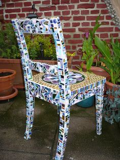 Old chair in new dress - finished by Mosaikstall, via Flickr