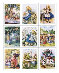 Paneles de tela x 9; Alicia en el país de las maravillas, Vintage, acolchado…