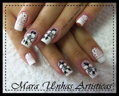 NAILS, UÑAS, UHNAS Crazy Nail Art, Crazy Nails, Flower Nail Designs, Beautiful Nail Designs, Nail Art Diy, Diy Nails, Gorgeous Nails, Pretty Nails, French Manicure Nails