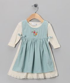 Ecru & Aqua Apron Dress - Infant, Toddler & Girls