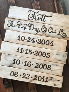 Rustic Family Dates Sign! Hand made from reclaimed wood. Each letter and number of your special dates and family name is wood burned by hand-creating a beautiful rustic combination of burnish wood brown against the natural patina of aged wood. #familydatessigns #familyartwork #countryhomedecor #specialdatessign #anniversarygifts