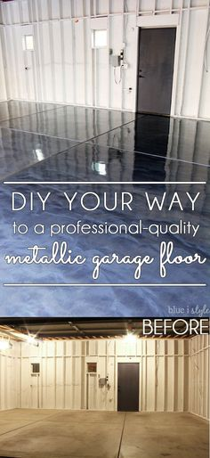 DIY metallic garage floor finish – gorgeous, functional, and more durable than paint or epoxy. Get all the how to details and a photo tutorial. Rust-Oleum RockSolid Metallic Floor Coating Source by summerlashaexo Garage Floor Finishes, Garage Floor Coatings, Garage Floor Paint, Epoxy Garage Floor Coating, Garage House, Diy Garage, Garage Ideas, Small Garage, Garage Shop