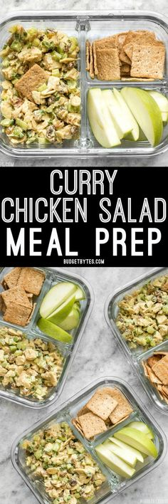 Curry Chicken Salad is paired with crunchy crackers for dipping and a tart apple to cleanse the palate in this simple cold lunch box.