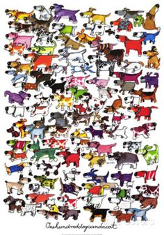 One Hundred Dogs and a Cat Prints by Kevin Whitlark good for vets office while people are waiting!