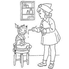 Nurse Coloring Pages Kindergarten. Nurse feeding the Cat Coloring Pages ABC Sheet  Letter N is for coloring books and