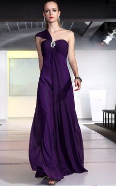 Fashional Bridesmaid Ball Purple One Shoulder Chiffon Draped Long Evening Dress 02010101hl30513 merpherl.com