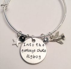Into the Garbage Chute Flyboy Han Solo Princess Leia Carrie Fisher Harrison Ford Star Wars Adjustable Bangle Charm Bracelet #starwars #trilogy #movieclassics #hansolo #princessleia #lukeskywalker  #harrisonford #carriefisher #anewhope #stamped #adjustablebangle #charmbracelet