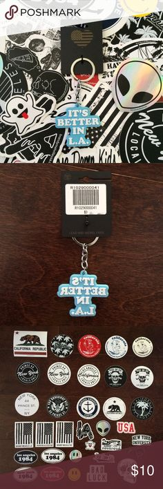 "BNWT Brandy Melville Keychain + Stickers Includes 1 BNWT rubber keychain that says ""It's Better in L.A."" You also get to pick any 5 stickers shown in the 3rd picture to be included with your purchase. If you want the keychain separately I can make a listing for you for $8. I already have a listing for 5 stickers in my closet if you just want stickers.   🌸 I only sell on Posh 🌸 I don't trade 🌸 My price is firm. I am not accepting any offers on this item. Brandy Melville Accessories"