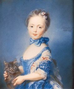 Girl with a Kitten, by Jean-Baptiste Perronneau, 1745. National Gallery. Love how she's holding the kitten's paw - though clearly the kitten's not too sure this is a good idea.