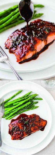 Balsamic Glazed Salmon - black pepper, healthy, honey, recipes, salmon, seafood