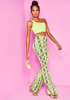 0bcbde9f84 Missyempire - Jessy Neon Green Snake Print Flare Trousers