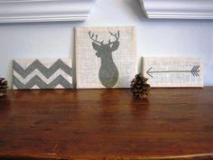 White Burlap Deer Antlers Silhouette, Chevron, Arrow Art Blocks, set of three, Gallery Wall Decor, Gray. $28.00, via Etsy.