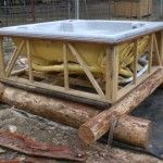 Aquaponics fish tank.  A old hot tub!