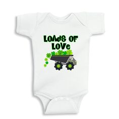 Loads of Love Shamrocks personalized baby bodysuit or Infant T-Shirt by bodysuitsbynany on Etsy