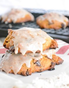 Chocolate Chip & Bacon Pumpkin Scones with Cinnamon Glaze: http://www.stylemepretty.com/living/2015/09/21/35-pumpkin-recipes-full-of-sugar-spice-everything-nice/