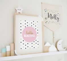 Hello beautiful gold glitter effect print in A4. Perfect for girls room or baby nursery.