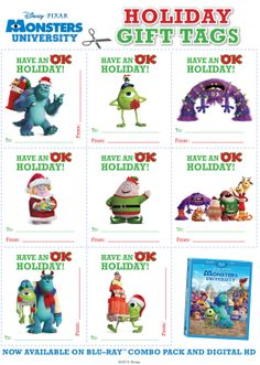 Put some Monstrous fun under your Christmas tree with these Holiday Gift tags! Disney Christmas, Holiday Fun, Christmas Holidays, Disney Holidays, Christmas Wrapping, Christmas Ideas, Monster University, Disney Diy, Disney Crafts