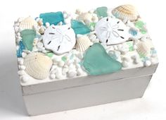 Small White Box with Blue and Green Sea Glass (http://www.caseashells.com/small-white-box-with-blue-and-green-sea-glass/)
