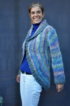 Crochet wool silk angora circular coat / multicolored by SophieCRO