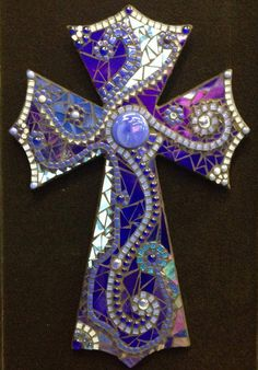 Large Blue cross. www.tinypiecesmakeart.com
