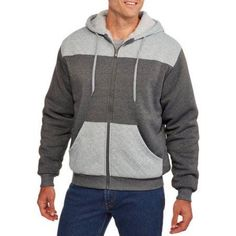 Men's Quilted Sherpa Hoodie, Size: XL, Gray