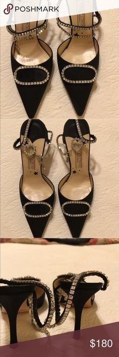 Jimmy Choo pumps Black suede dress pump with rhinestone accents and clasps.. Jimmy Choo Shoes Heels