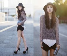 Steve Madden Deeny Heels, Rag & Bone Sweater, Choies Box Clutch