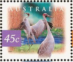 Stamp: Brolga (Grus rubicunda) (Australia) (Flora and Fauna) Mi:AU 1643,Sn:AU 1531,Yt:AU 1594,Sg:AU 1683
