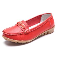 Sale 15% (23.99$) - Soft Leather Slip On Round Toe Casual Flat Loafers For Women