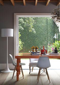 dining room | orange table and garden #decor #diningroom